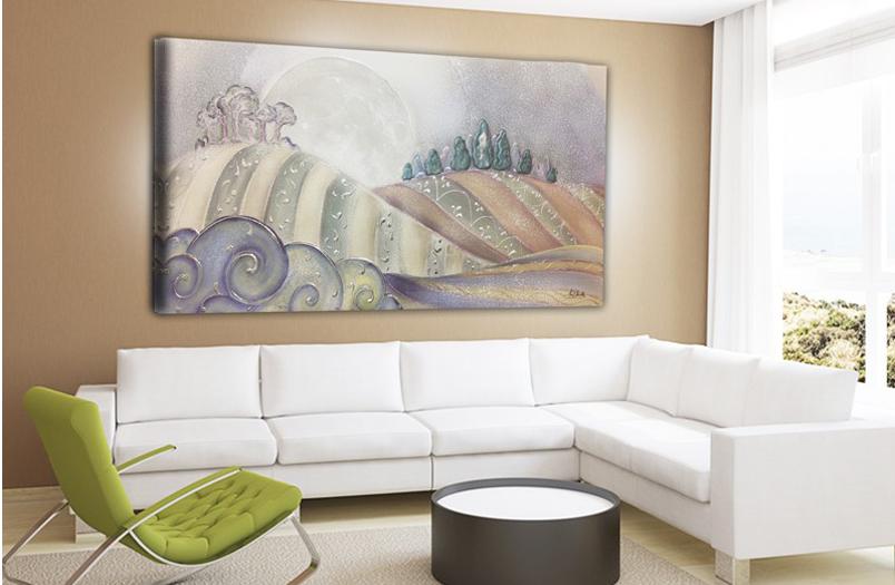 PAESAGGIO04 Quadro moderno su tela con paesaggio - Ambientazione