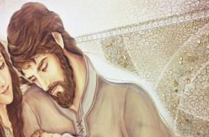 PRESTIGE05 Capezzale quadro moderno su tela sacro sacra famiglia per la camera da letto - Dettaglio