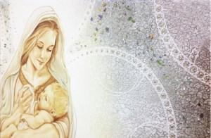 PRESTIGE07 Capezzale quadro moderno su tela sacro madonna con bambino per la camera da letto - Dettaglio