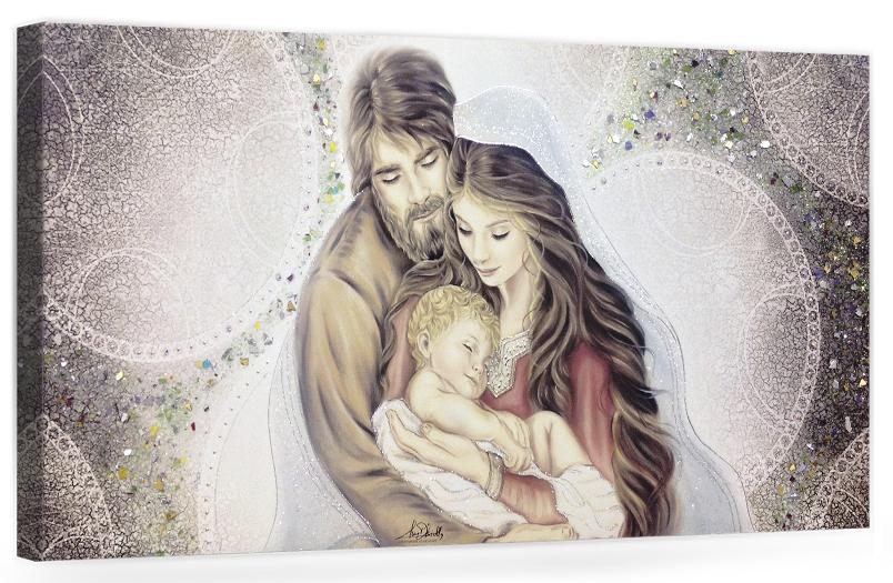 PRESTIGE08 Capezzale quadro moderno su tela sacro sacra famiglia per la camera da letto