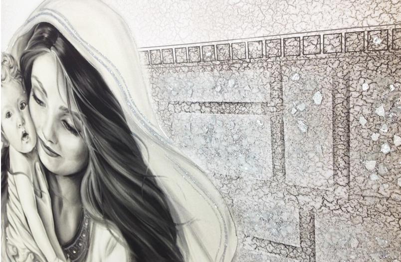 PRESTIGE11 Capezzale quadro moderno su tela sacro madonna con bambino per la camera da letto - Dettaglio