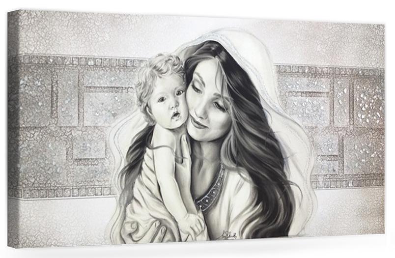 PRESTIGE11 Capezzale quadro moderno su tela sacro madonna con bambino per la camera da letto