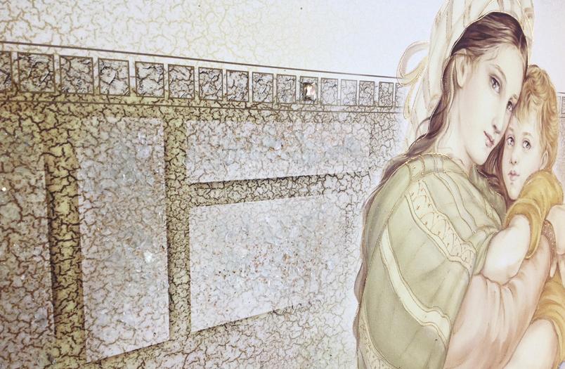 PRESTIGE12 Capezzale quadro moderno su tela sacro madonna con bambino per la camera da letto - Dettaglio