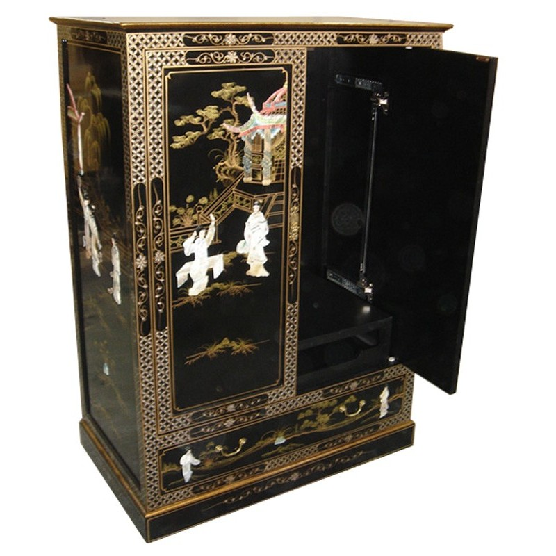 Meuble Chinois Tlvision Laqu Portes Coulissantes