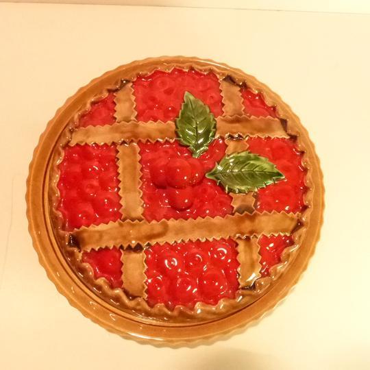 magnifique plat a tarte silea en ceramique decor tarte aux cerises vintage