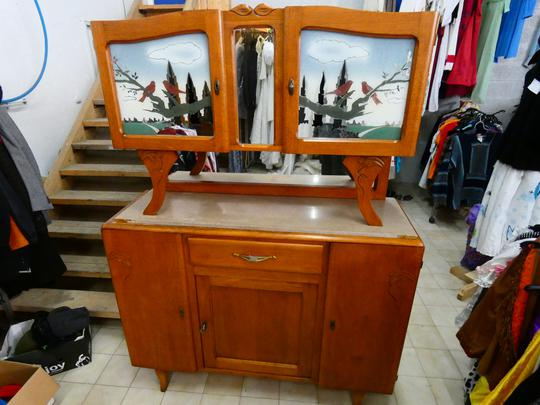 ancien buffet double corps chene massif vintage