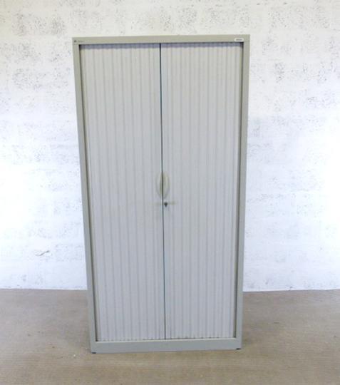 armoire haute a rideaux sansen en metal 100x43x200cm gris