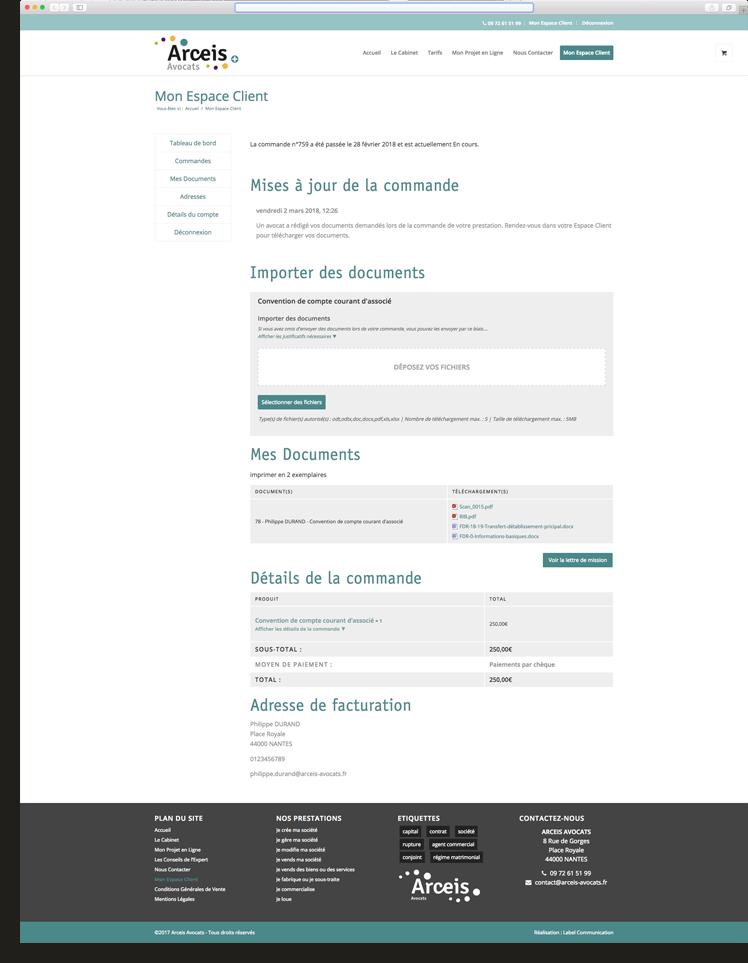 Création du site internet d'Arceis Avocats - Agence web - Label Site Nantes