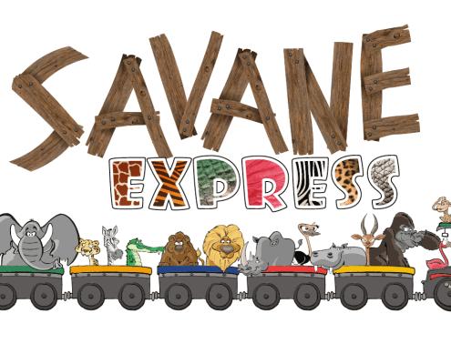 Logo et animaux Savane Express - Label Communication