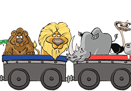 Illustration d'animaux dans un train pour Savane Express - Label Communication