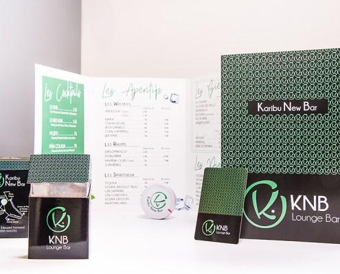 Carte des boissons, cartes de visite et cache-paquets de cigarettes, KNB, Lounge Bar