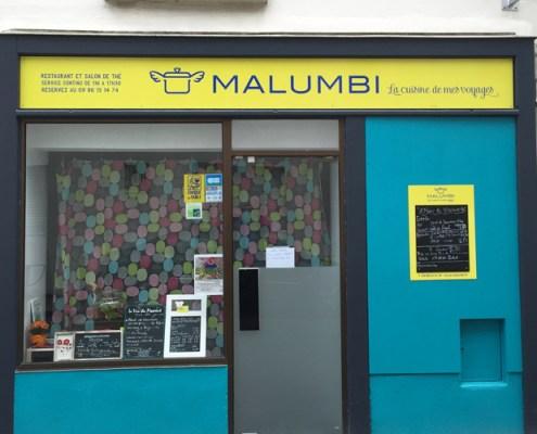 Aménagement vitrine Malumbi à Nantes, panneau dibond recouvert adhésif traité anti UV, quartier République Mangin Beaulieu