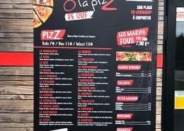 Panneaux dibond pour carte restaurant - pizzeria Bouaye