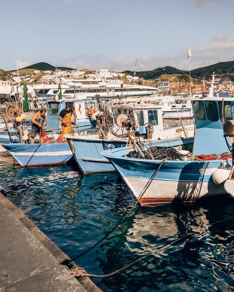 boats resting on yej harbor during sumer in Ponza Isalnd, Italy
