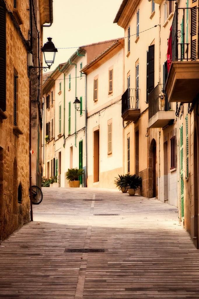 A charming street in Spain during sunset