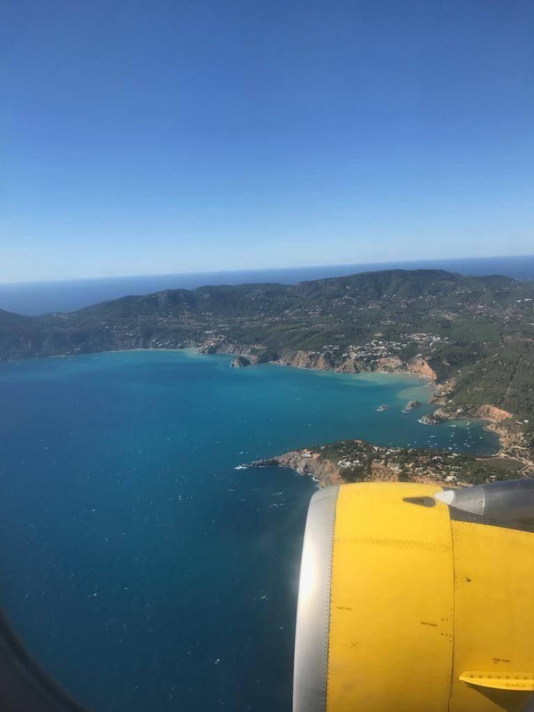 Plane view arriving to Ibiza Island