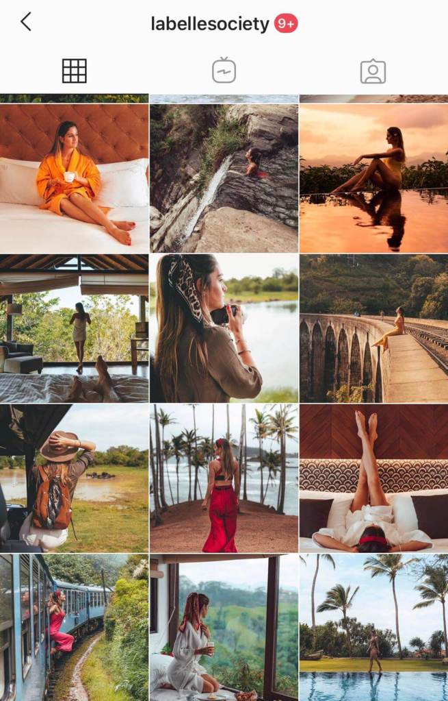 Instagram feed for travel blogger and content creator Ana Palombini, from La Belle Society @labellesociety