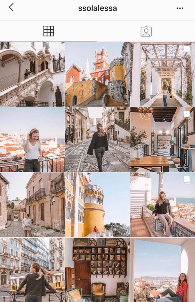 Instagram feed for travel blogger and content creator ssolalessa