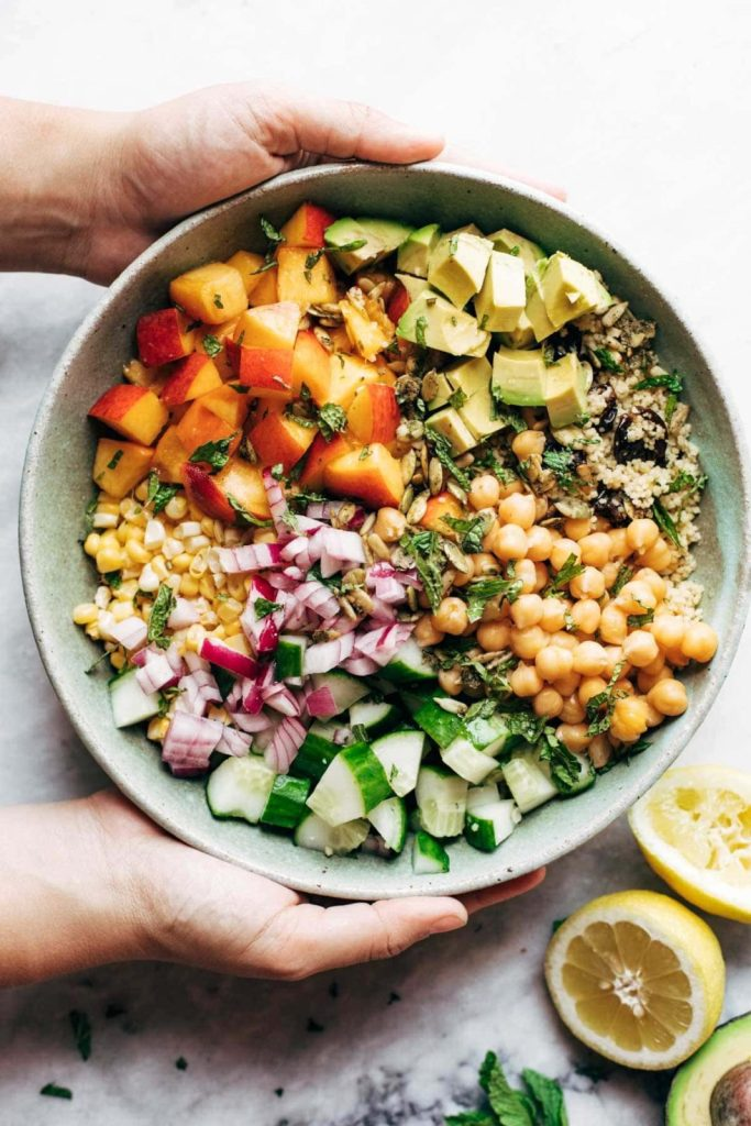 Couscous Summer Salad | Juicy nectarines and avocados and mint and cucumbers and chickpeas and cherries and couscous and fresh sweet corn definitely go together, right? (TRUST! THEY DO.) #healthyrecipes #healthyfood #cleaneating