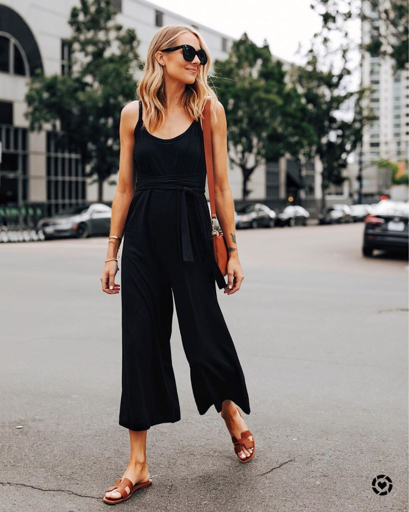 How to Dress Like An Italian Woman in Summer 2020 | black jumpsuit, Hermes brown sandals and a brown bag