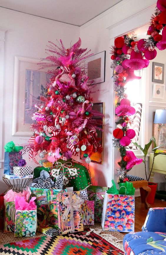 Pink Flamingos Christmas Tree | Want ideas for unique Christmas trees for the 2020 holiday season? Find inspiration ideas for your Christmas tree decoration from creative and unique xmas trees. From white, upside down, best Christmas trees on wall, pink Christmas trees, and even Disney Christmas tree decorations. From big and small unique Christmas tree ideas. Perfect for kids and for the holidays. #uniquechristmastree #christmastreeideas #christmastreeideas #christmas