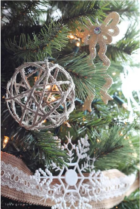 Farmhouse Christmas Tree Ornaments DIY hanging from a xmas tree