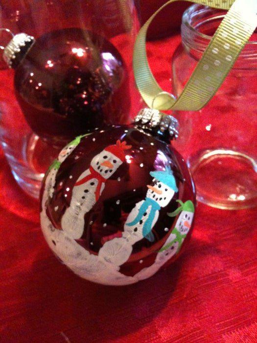 Kids Hand print Snowman Bulb Decor Christmas Tree Ornaments DIY