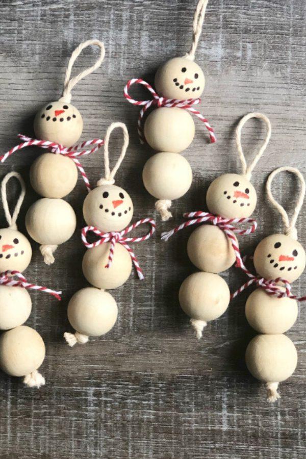 Wood Bead Snowman Ornaments Christmas Tree Ornaments DIY