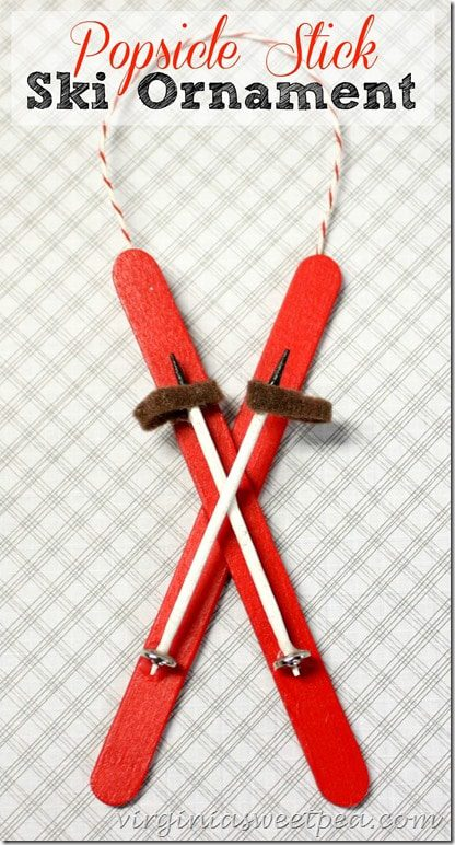 Popsicle Stick Ski Ornaments for Xmas tree decoration