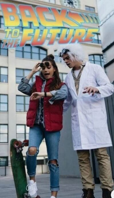 Back to the Future Couple's Halloween Costume | Looking for iconic couples costume Halloween ideas for 2020? Find the best couples Halloween costume ideas, perfect for matching with your boyfriend. Find hot couples costume ideas, cool Disney characters costumes and the best DIY, funny, and scary couples Halloween costume inspiration. #CouplesCostumeHalloween #couplescostume #halloweencouples #halloween