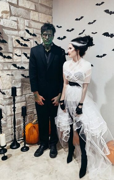Frankenstein and Bride | Looking for iconic couples costume Halloween ideas for 2020? Find the best couples Halloween costume ideas, perfect for matching with your boyfriend. Find hot couples costume ideas, cool Disney characters costumes and the best DIY, funny, and scary couples Halloween costume inspiration. #CouplesCostumeHalloween #couplescostume #halloweencouples #halloween