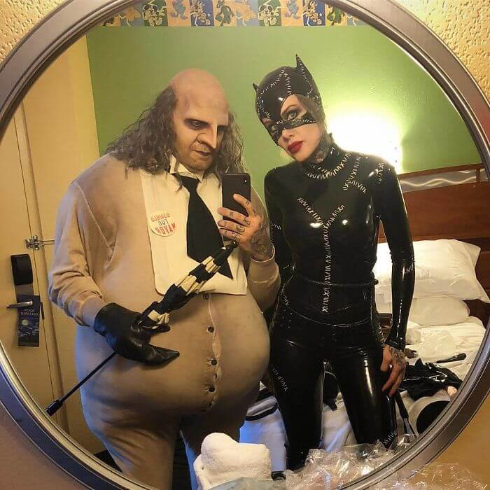 Creative The Penguin and Catwoman Costumes | Looking for iconic couples costume Halloween ideas for 2020? Find the best couples Halloween costume ideas, perfect for matching with your boyfriend. Find hot couples costume ideas, cool Disney characters costumes and the best DIY, funny, and scary couples Halloween costume inspiration. #CouplesCostumeHalloween #couplescostume #halloweencouples #halloween