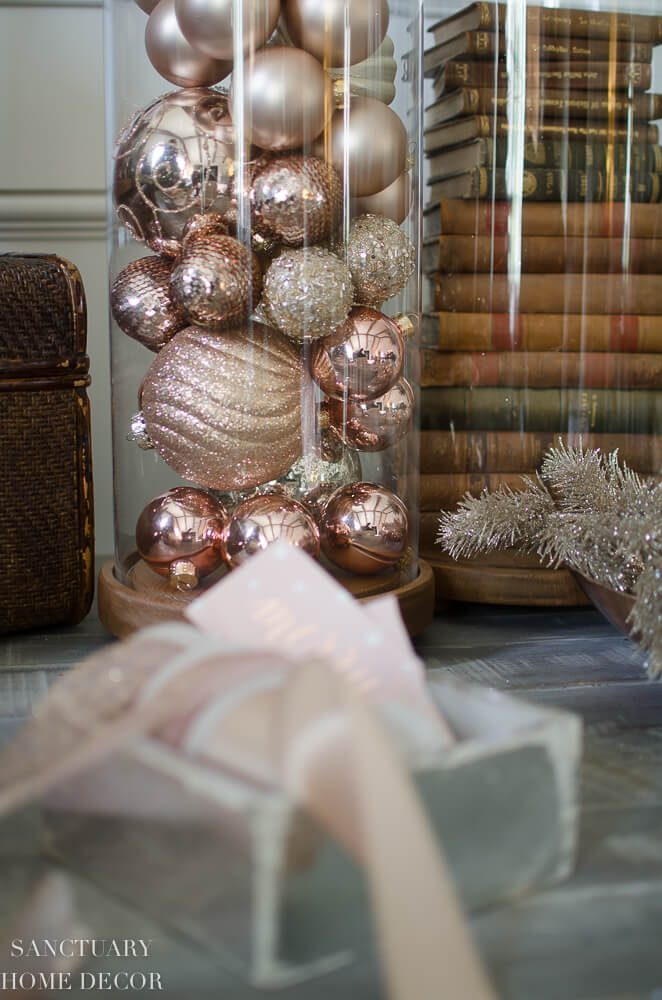 Delicate Pink Rose Christmas Balls Inside a Jar | Want ideas for a themed Christmas decor this year? There is nothing more elegant and feminine that pink gold decor and the sky is the limit when looking for pink gold Christmas decoration. From pink Christmas tree, elegant gold pink Christmas decoration and ornaments, gold pink xmas wreaths, gold pink ideas DIY and the cutest gold pink Christmas decor from the dollar store. #pinkchristmas #pinkgoldchristmas #pinkchristmasdecor #pinkchristmasaesthetic #themedchirstmas