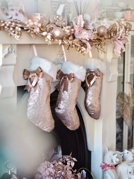 Rose Gold Sequins Christmas Stocking (DIY) | Want ideas for a themed Christmas decor this year? There is nothing more elegant and feminine that pink gold decor and the sky is the limit when looking for pink gold Christmas decoration. From pink Christmas tree, elegant gold pink Christmas decoration and ornaments, gold pink xmas wreaths, gold pink ideas DIY and the cutest gold pink Christmas decor from the dollar store. #pinkchristmas #pinkgoldchristmas #pinkchristmasdecor #pinkchristmasaesthetic #themedchirstmas