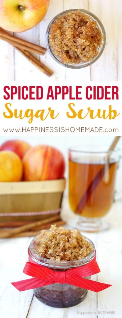 Click to learn an easy sugar scrub DIY recipe made from apple spiced apple cider, perfect for the season change flaky skin #sugarscrubdiy #appleciderscrub