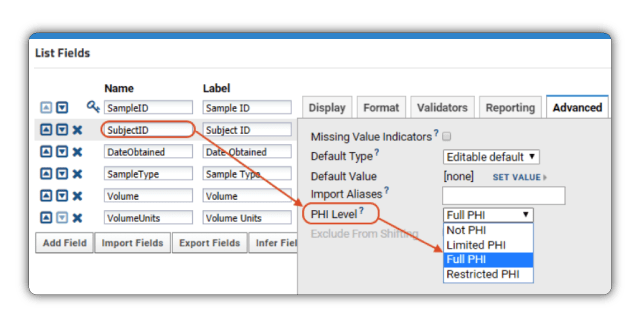 LabKey Server compliance features allow administrators to flag PHI columns to restrict access to sensitive data