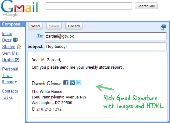 Create HTML Signatures Right Inside Gmail