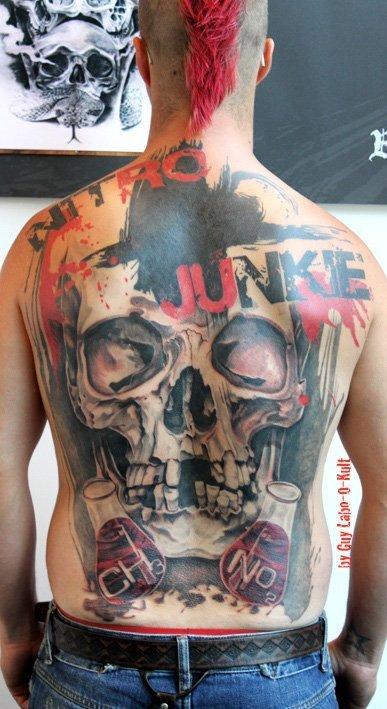 Tattoo | Tatouage | Tätowierung by Guy Labo-O-Kult | Labo Pogo Black and Grey and Red Backpiece