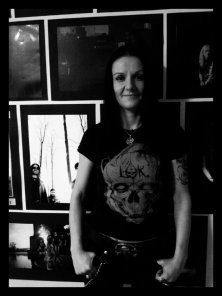 Alina posing with Labo-O-Kult t-shirt after the Transilvania Tattoo Expo in Sibiu, Romania
