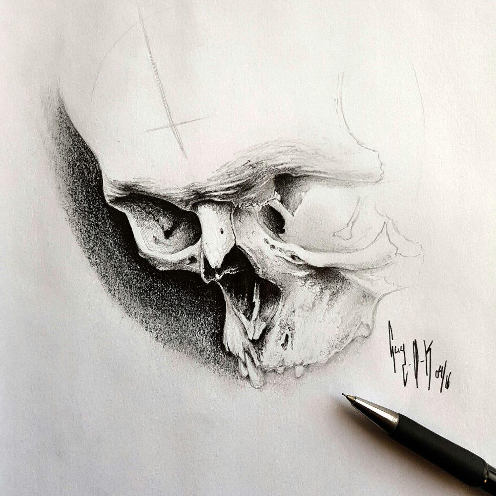 "Pencil Drawing ""April Skull"" Guy Labo-O-Kult"