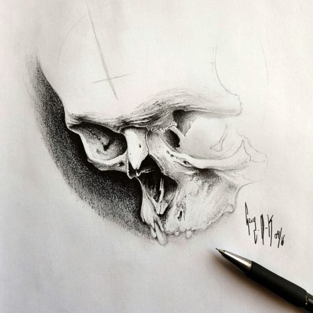 "Pencil Drawing ""April Skull"" Guy Labo-O-Kult"
