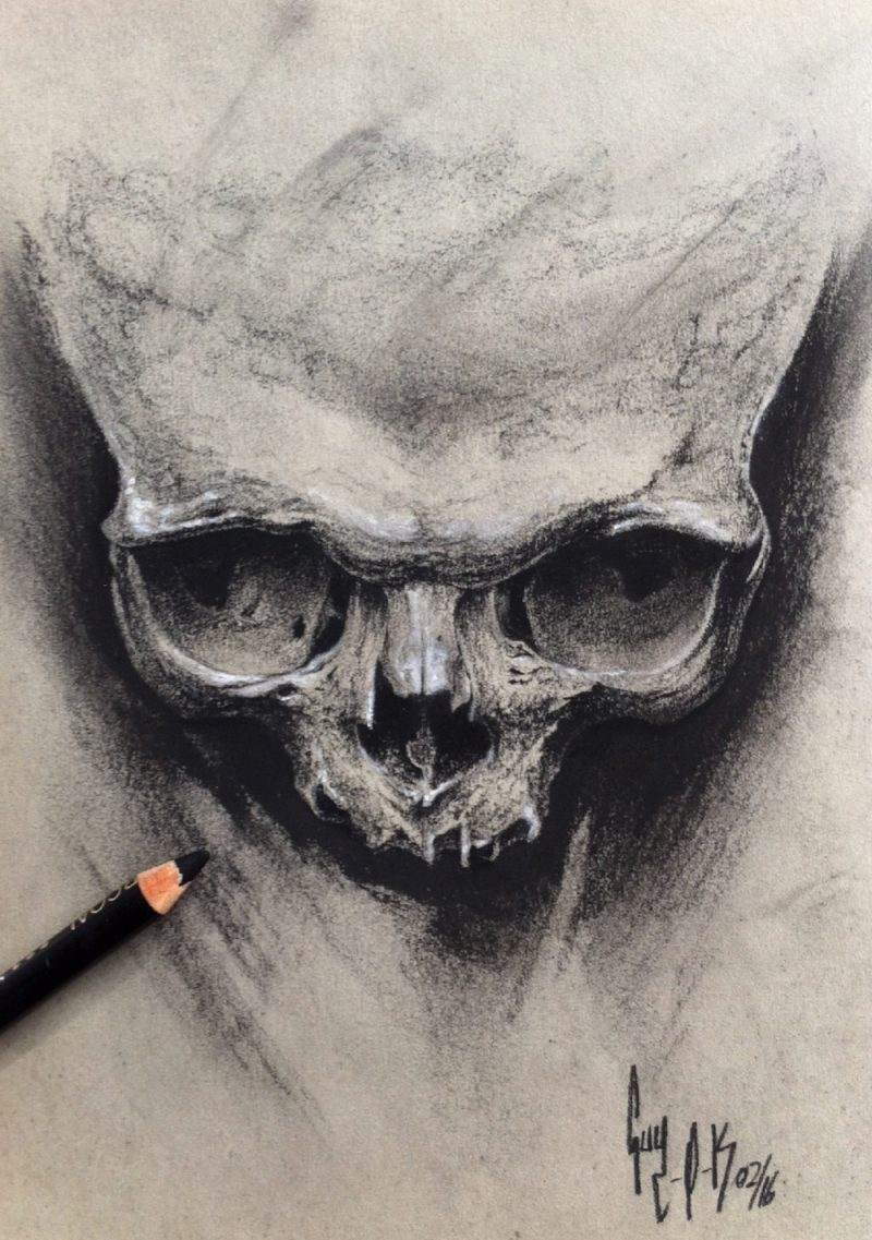 """Charcoal Drawing """"A Skull A Day"""" by Guy Labo-O-Kult"""
