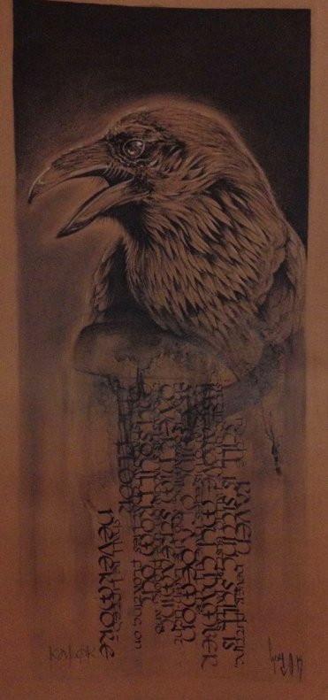 "Collaboration ""Raven"" Ka & Guy – Calligraphy & Charcoal"