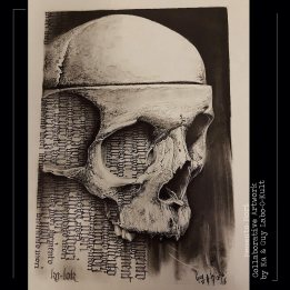 "Collaboration ""Memento Mori"" Ka & Guy – Calligraphy & Charcoal"