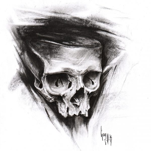"""Charcoal Drawing """"Carbo-O-Skull"""""""
