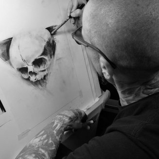 "Guy working on ""embryo"" Charcoal drawing"