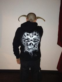 """Guy Labo-O-Kult posing with our """"O Tempus Edax"""" Hoodie"""