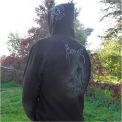 "Design on the back for a hoodie of swiss black metal band ""Borgne"""