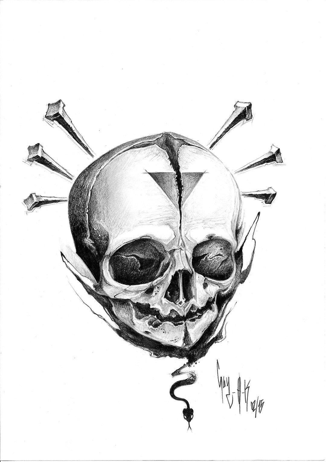 """pencil drawing by guy labo-o-kult """"nail 'n' skull"""""""