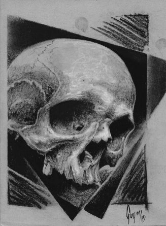 "Charcoal Drawing ""Skull on Black Squares"""